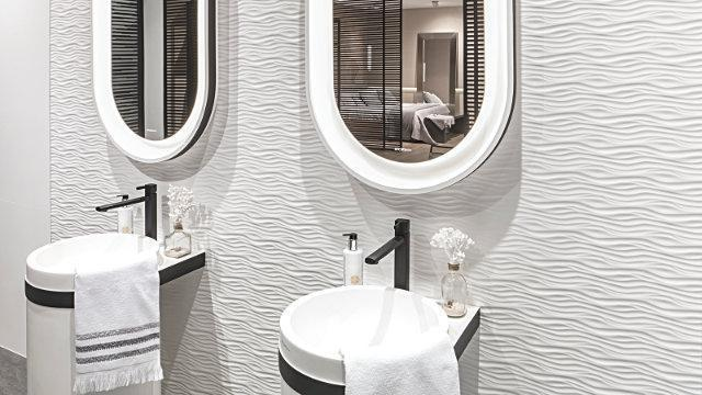 Porcelanosa Roma White Textured Wall Tiles Wall 45x120 cm