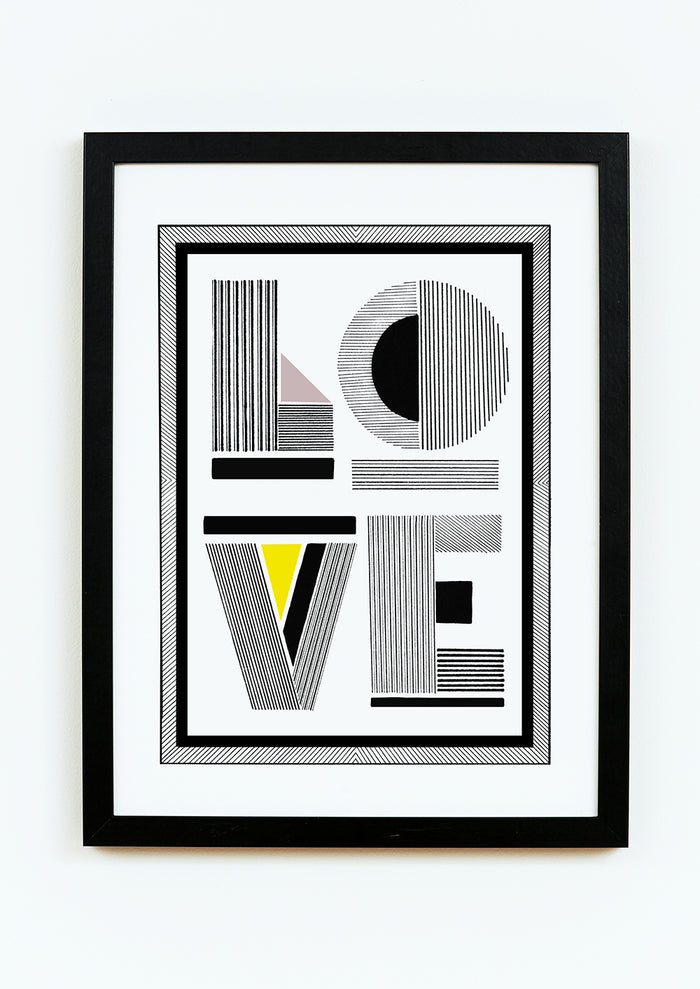 hand drawn linear monochrome with colour pops typographic love print