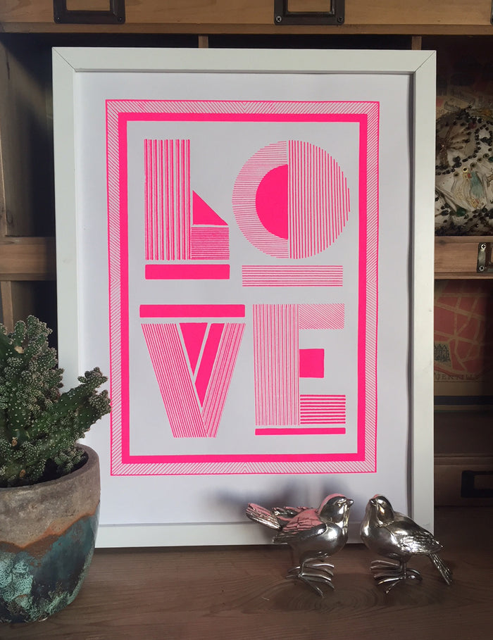 "Linear ""LOVE"" screen print"