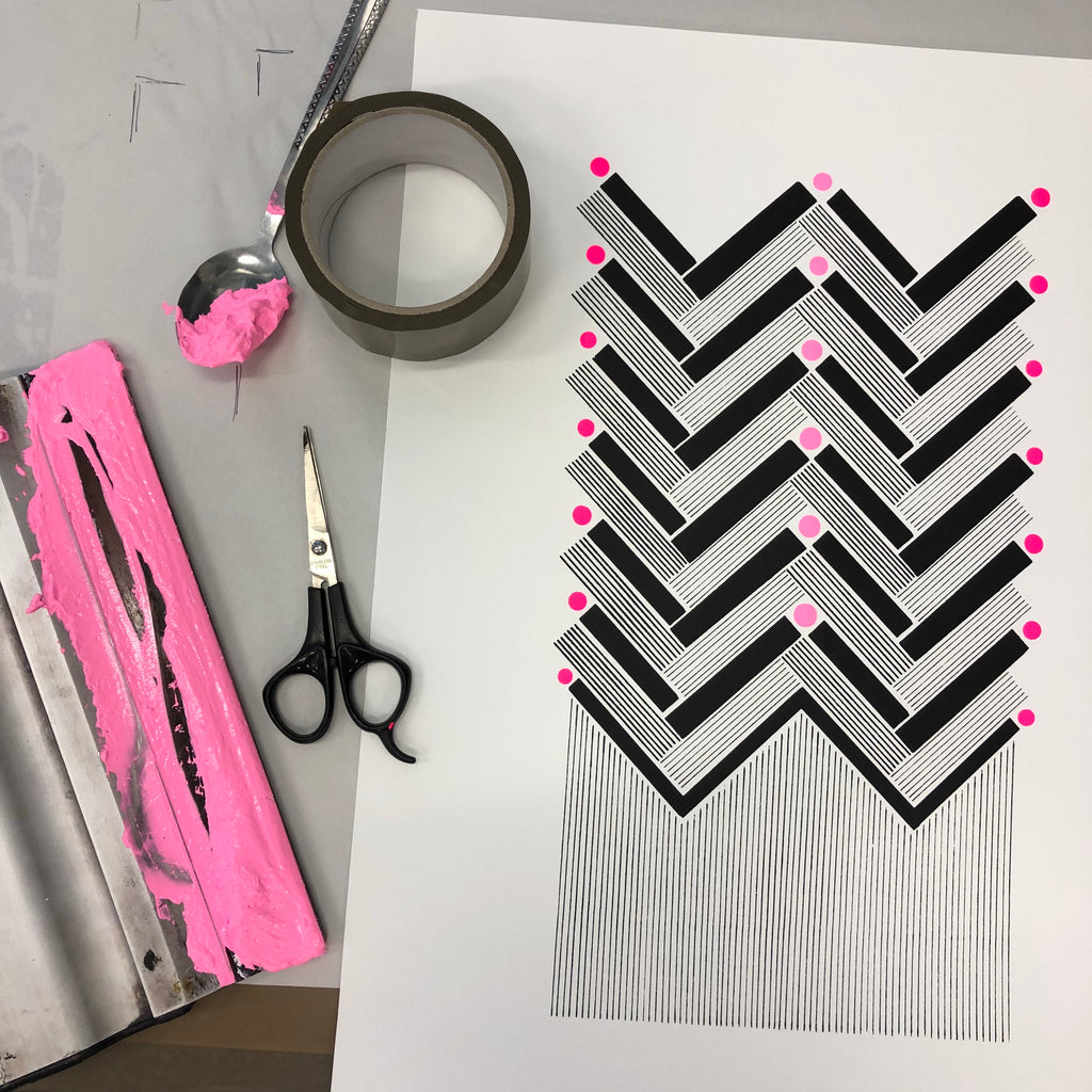 Herringbone screen print