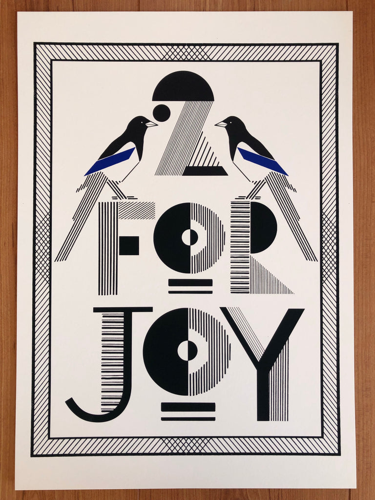 Handrawn typography 2 for joy magpie superstitious wall print