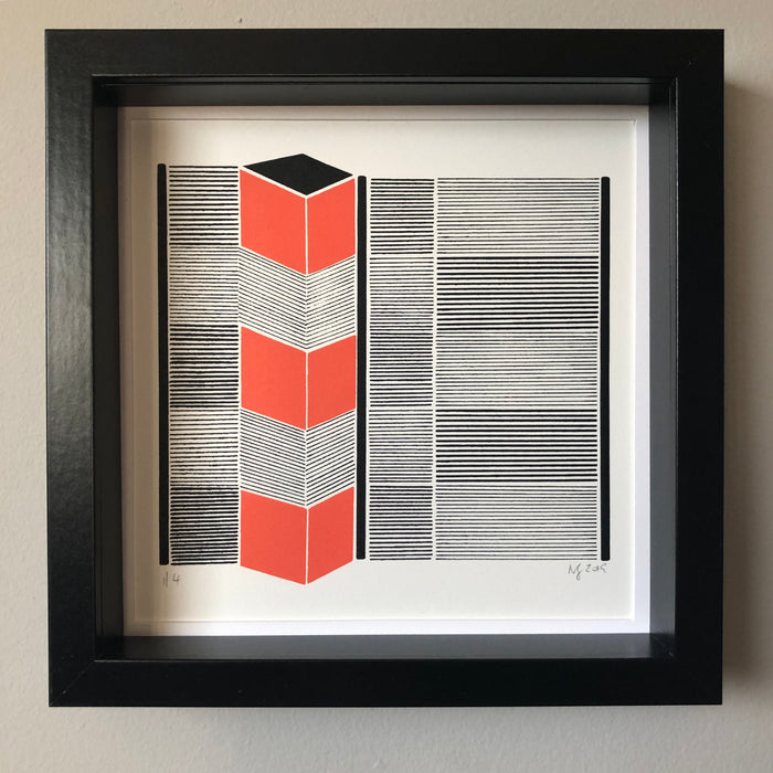 cube, screen print, linear print, Irish printmaker, printmaking, screen printing, geometric print, Fabriano Rososapina, 60% cotton paper, creativespark dundalk,