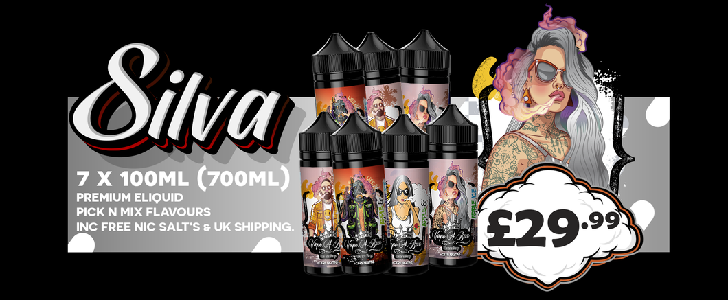 Silver E liquid Bundle | 7 x 50ml PICK N MIX Premium Shortfill E liquid | Free VG Nic Shots & UK Shipping | 3mg