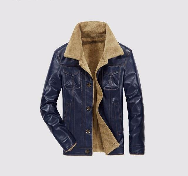 Men's Shearling Peacoat Leather Jacket