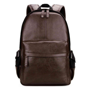 Men's Preppy Style Leather Backpack