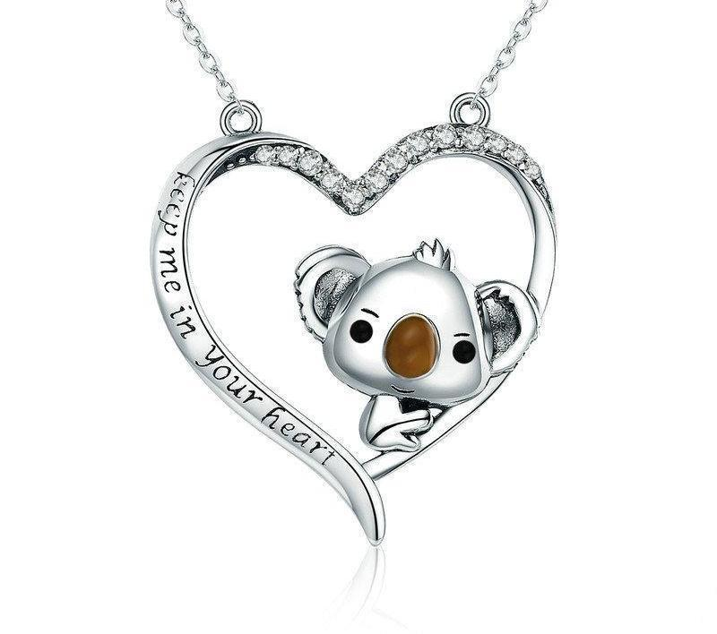 K|B Women's Silver Koala in Heart Necklaces