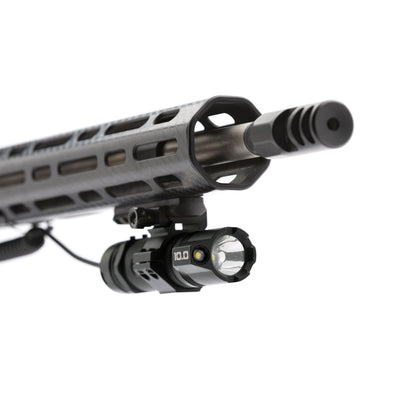 Striker Concepts B.A.M.F.F. 10.0 Dual LED Tactical Flashlight mounted on gun front