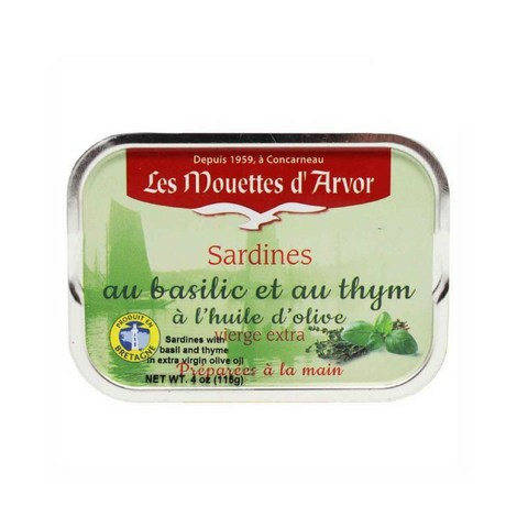 Mouettes d'Arvor French Sardines with Basil and Thyme 4 oz