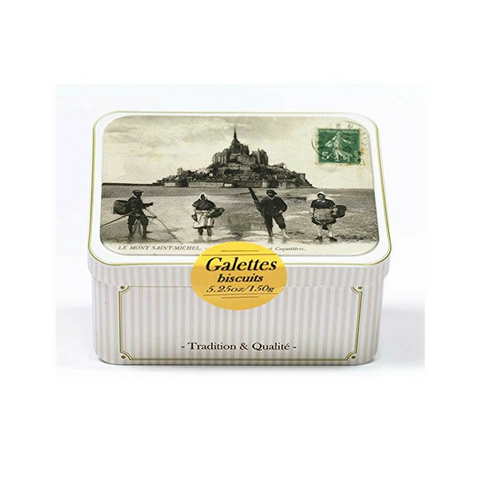 Maison Peltier Galettes Butter Cookies with Honey Tin 5.2 oz. (150g)