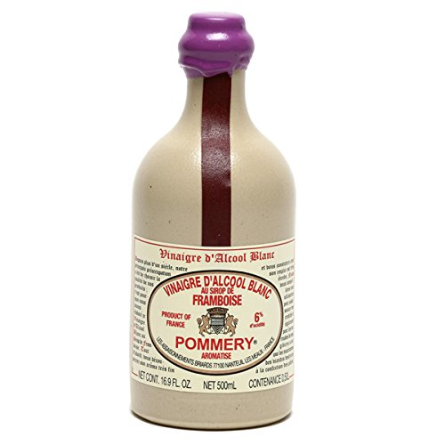 Pommery Aged White Wine Raspberry Flavored Vinegar 6% in Stoneware Bottle 16.9oz Case of 6 Units - Multipack