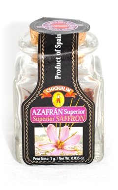 Chiquilin Spanish Superior Saffron Azafran Superior in Glass Jar 1g Case of 10 Units - Wholesale