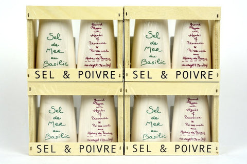 Aux Anysetiers du Roy Wood box with one ground pepper with Herbs of Provence and one Fine Sea Salt with Basil Case of 4 Units - Wholesale
