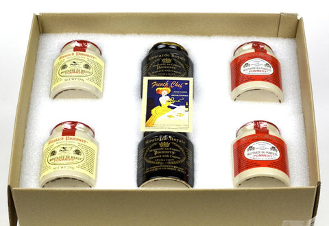 Pommery Mustard 6 Mustard Assortment Meaux Moutarde 250g (Classic, Royal with Cognac,Firemen) in Gift Box