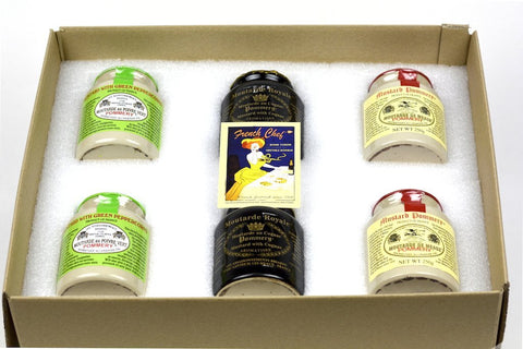 Pommery Mustard 6 Mustard Assortment Meaux Moutarde 250g (Green Peppercorn, Royal with Cognac and Classic) in Gift Box