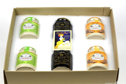 Pommery Mustard 6 Mustard Assortment Meaux Moutarde 250g (Green Peppercorn, Royal with Cognac,Ginger Bread) in Gift Box