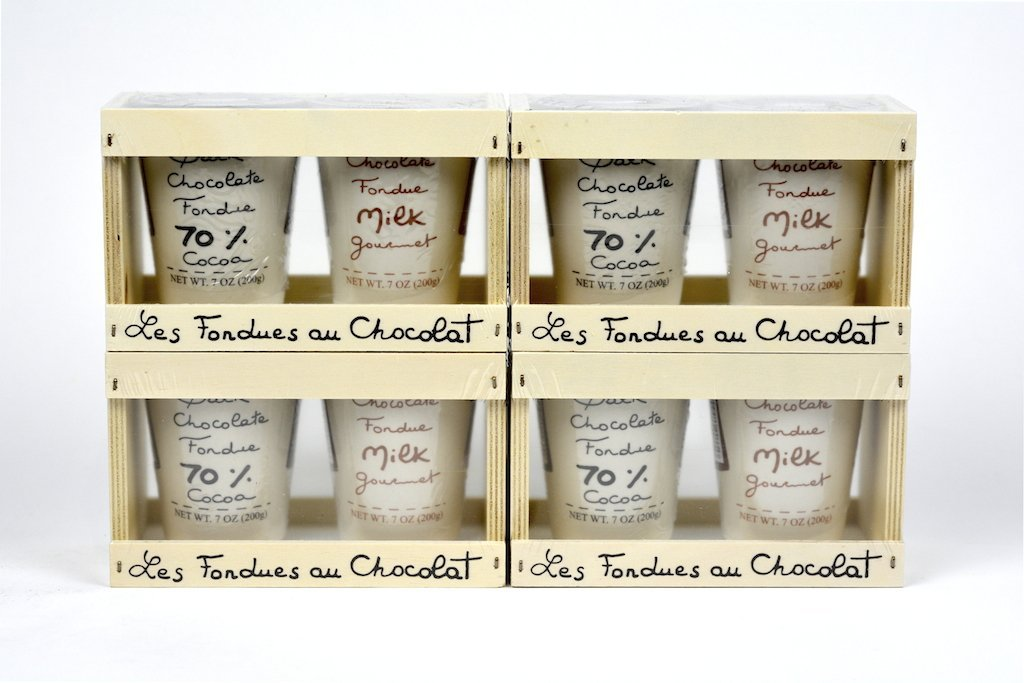 Aux Anysetiers du Roy Wood box with two Chocolate Fondues Dark and Milk Case of 4 - Wholelsale Wholesale