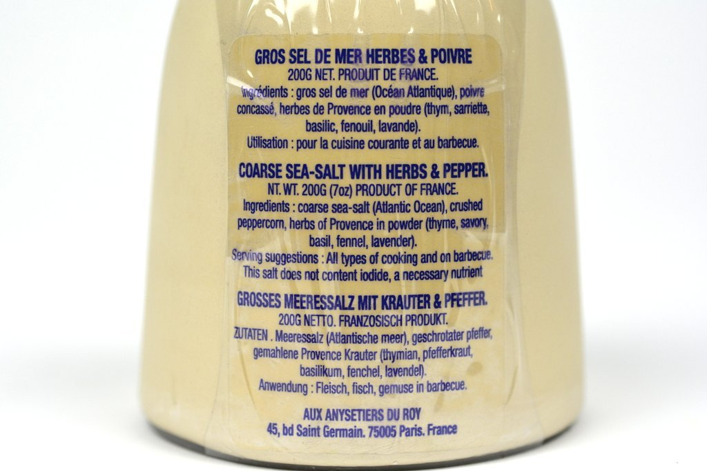 Aux Anysetiers du Roy Coarse Sea Salt Herbs and Pepper 200g Case of 12 Units - Wholesale
