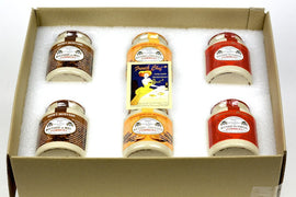 Pommery Mustard 6 Mustard Assortment Meaux Moutarde 250g (Honey Mustard,Ginger Bread,Firemen) in Gift Box