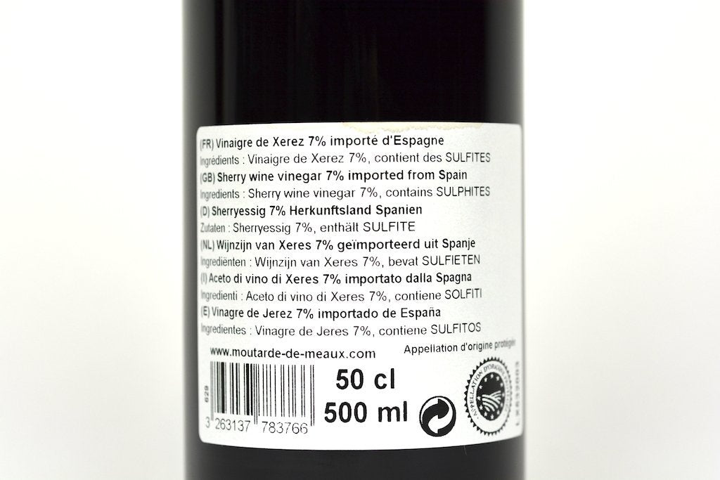 Moutarde de Meaux Sherry vinegar 7% 50cl Case of 6 Units - Multipack