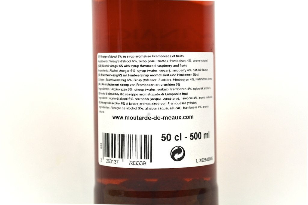 Moutarde de Meaux White Alcohol Vinegar 6% flavoured with Raspberry Syrup and Fruits 50cl Case of 6 Units - Multipack