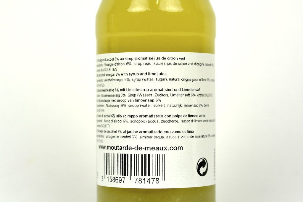 Moutarde de Meaux White Alcohol Vinegar 6% Flavoured With Green Lemon Pulp Syrup 25cl Case of 6 Units - Multipack