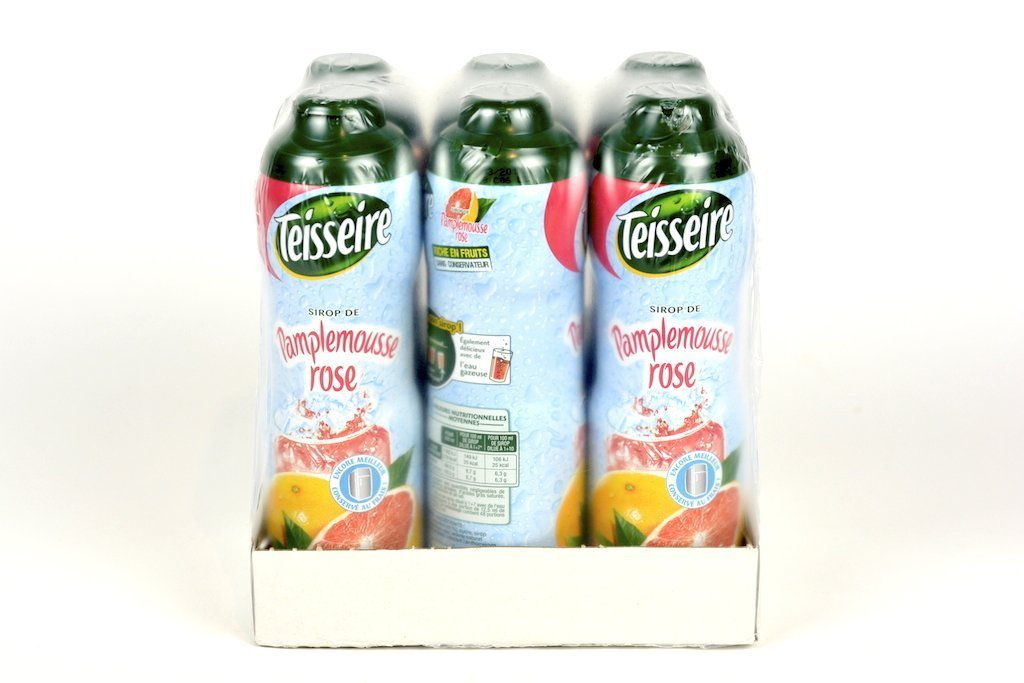 Teisseire Pink Grapefruit Pamplemousse French Syrup 60cl Case of 6 - Multipack