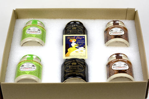 Pommery Mustard 6 Mustard Assortment Meaux Moutarde 250g (Green Peppercorn,Honey Mustard, and Royal with Cognac) in Gift Box