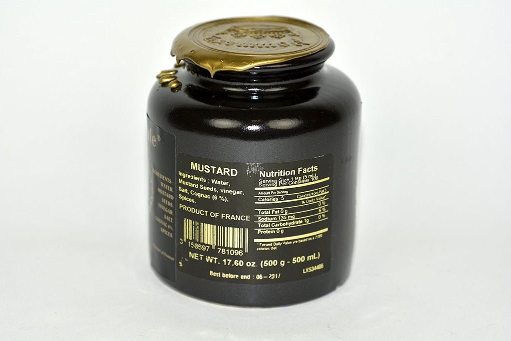 Royal Mustard Pommery Mustard with Cognac in Pottery Crock 17.6oz Case of 12 Units - Wholesale