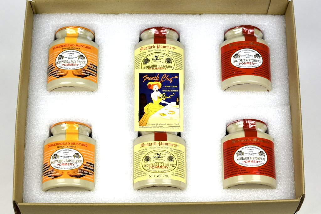 Pommery Mustard 6 Mustard Assortment Meaux Moutarde 250g (Ginger Bread, Classic,Firemen) in Gift Box