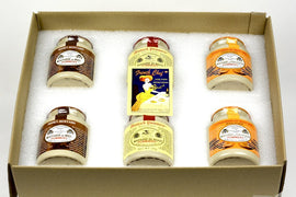 Pommery Mustard 6 Mustard Assortment Meaux Moutarde 250g (Honey Mustard,Classic,Ginger Bread) in Gift Box