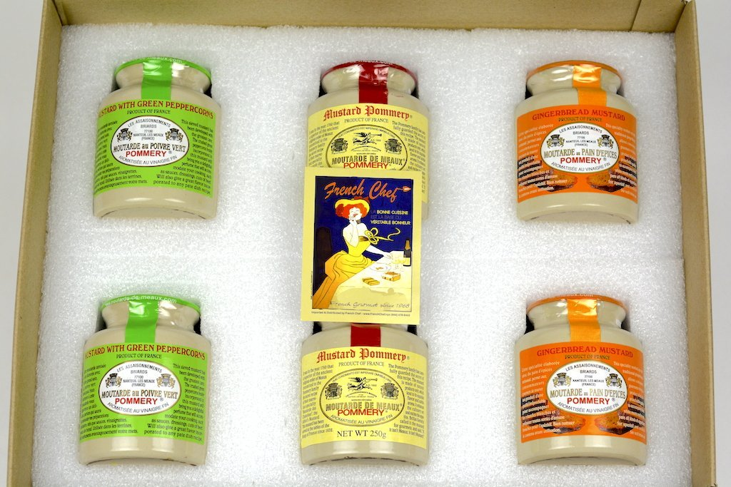 Pommery Mustard 6 Mustard Assortment Meaux Moutarde 250g (Green Peppercorn,Classic,Ginger Bread) in Gift Box