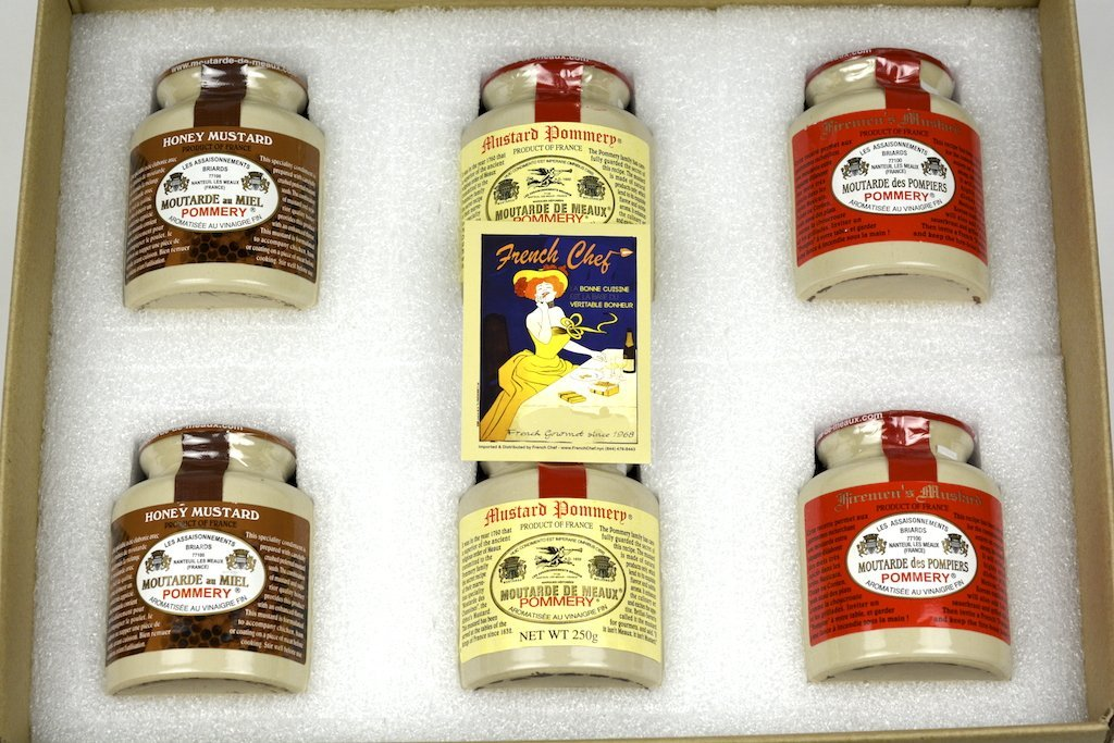 Pommery Mustard 6 Mustard Assortment Meaux Moutarde 250g (Honey Mustard, Classic,Firemen) in Gift Box