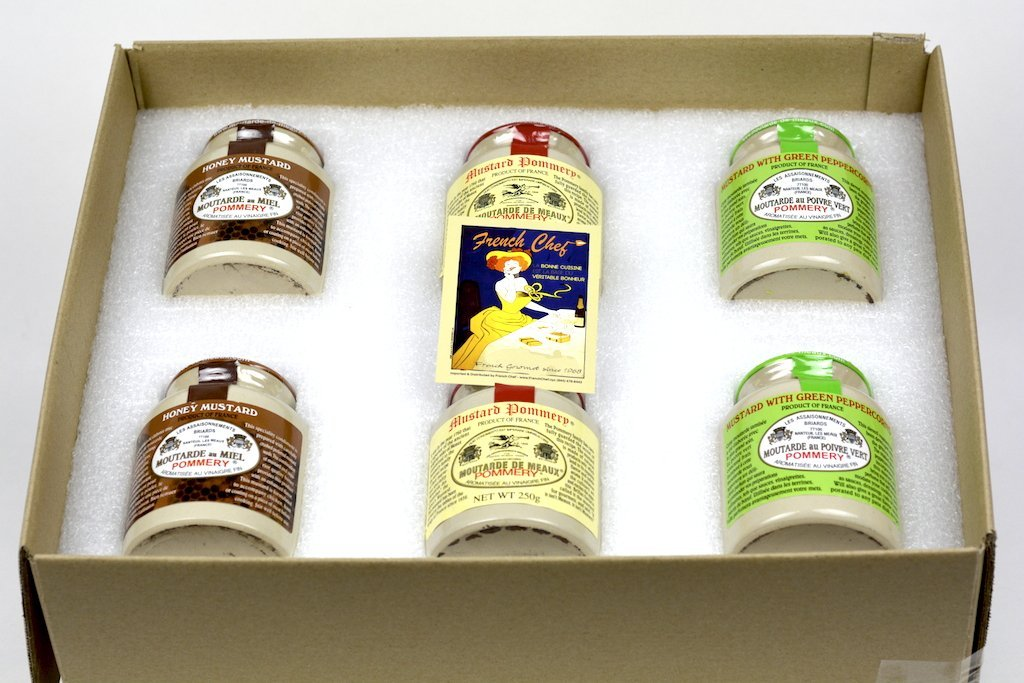 Pommery Mustard 6 Mustard Assortment Meaux Moutarde 250g (Honey Mustard, Classic, Green Peppercorn) in Gift Box