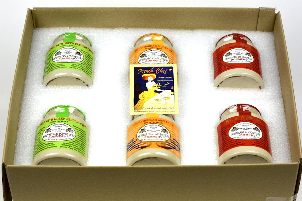 Pommery Mustard 6 Mustard Assortment Meaux Moutarde 250g (Green Peppercorn, Gingerbread,Firemen) in Gift Box