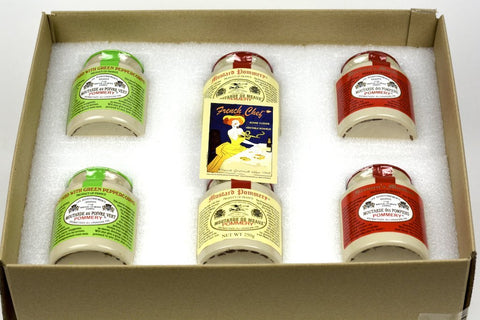 Pommery Mustard 6 Mustard Assortment Meaux Moutarde 250g (Green Peppercorn,Classic,Firemen) in Gift Box
