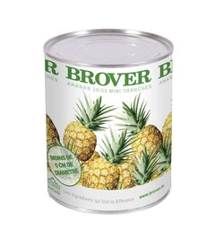Brover Mini-Pineapple slices in light syrup - 12 x 830 g (Wholesale prices. Sold per case only)