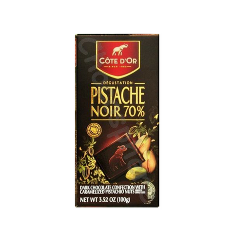 Cote D'or Dark (70%) Intense Chocolate Cocoa with Pistachio, 3.5-Ounce Bars