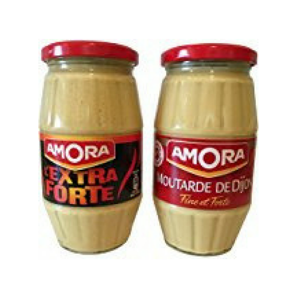Amora French Dijon Large Jar and Extra Strong Mustard Set