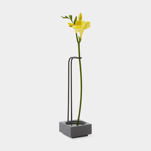 Blossom Well Vase - Cement/Black