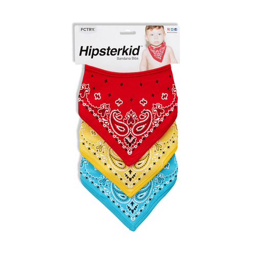 Bandanna Bibs - Sets of 3 - Red-Blue-Yellow