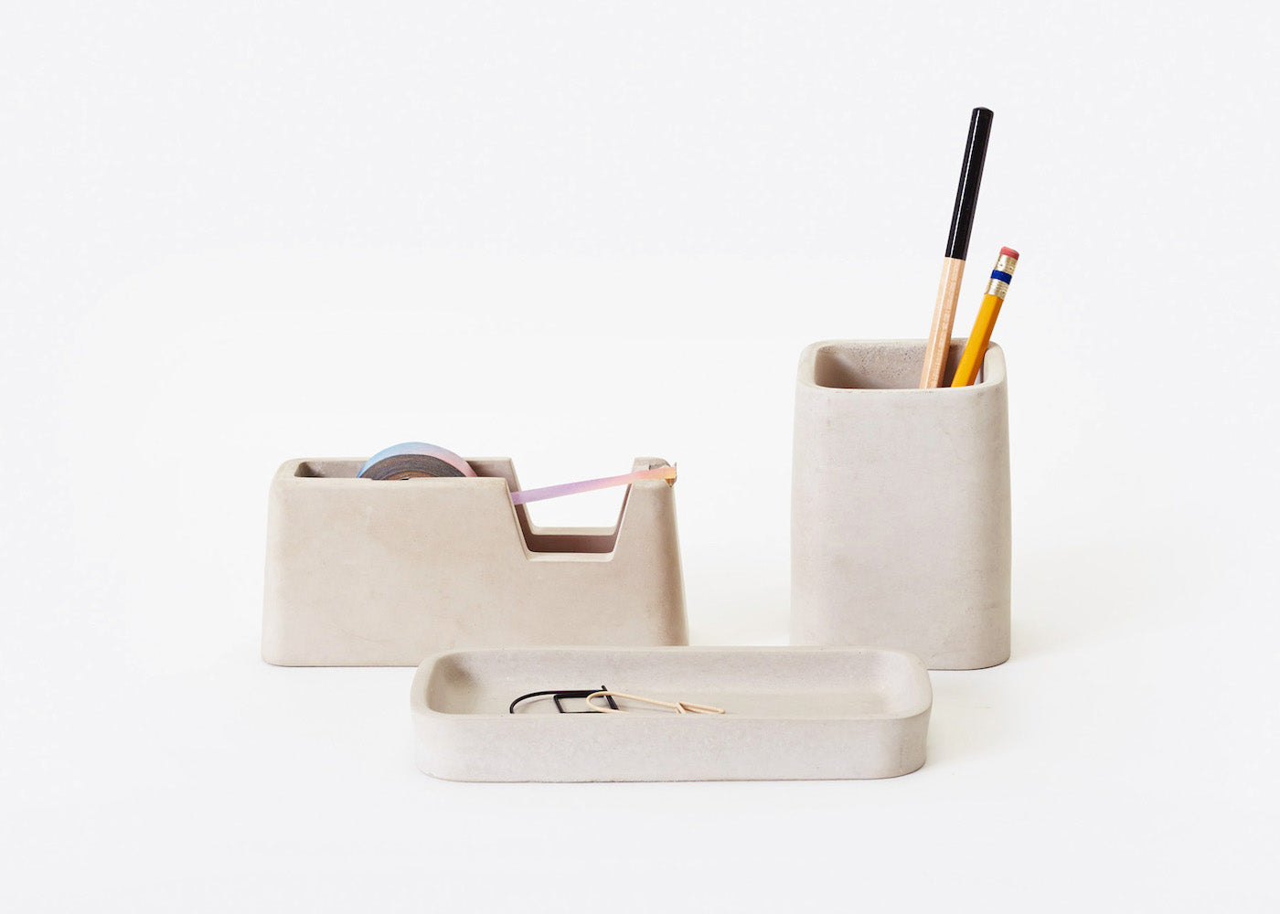 Concrete Desk Set - Small - Grey