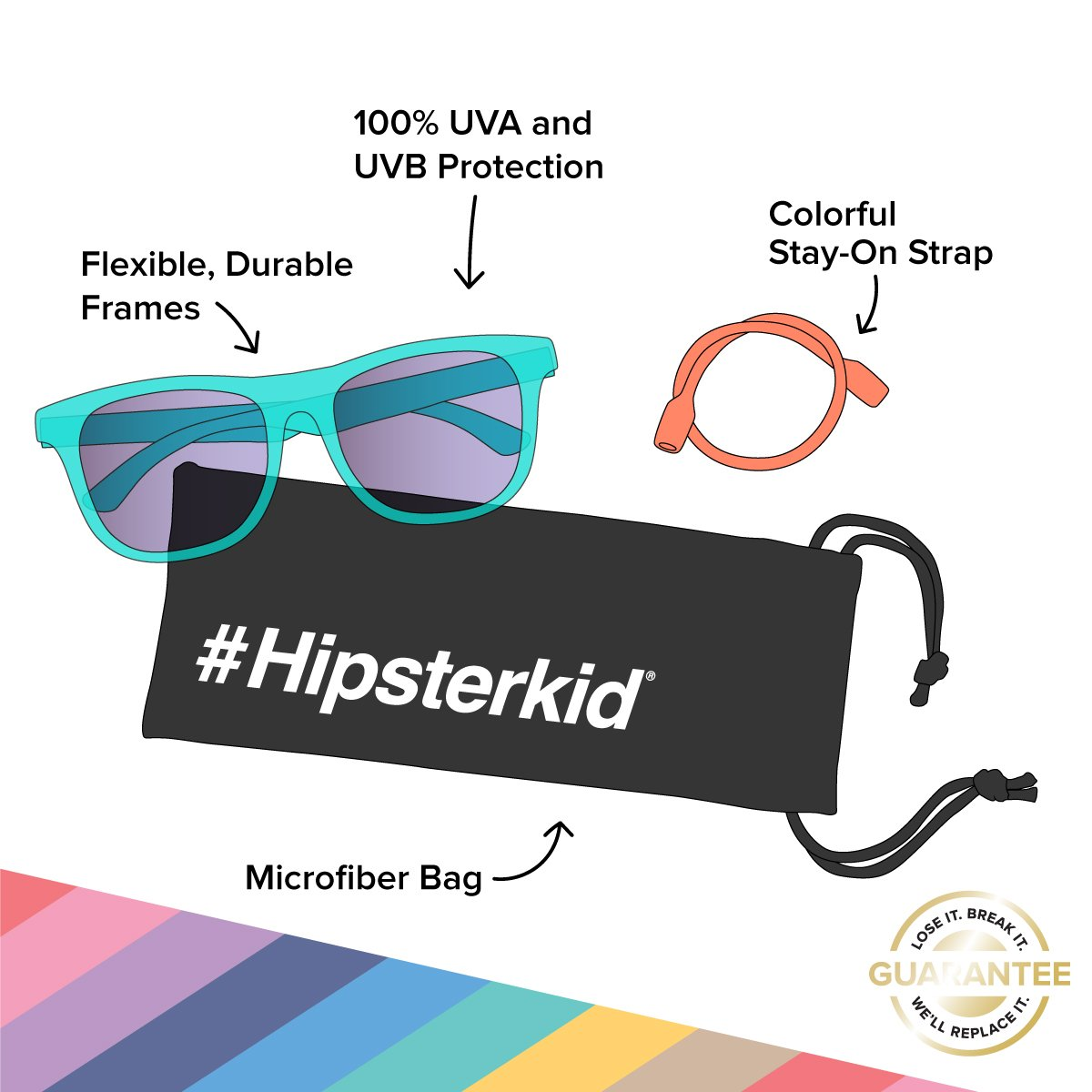 Hipsterkid Extra Fancy Baby Sunglasses - Aqua (0-2 years)