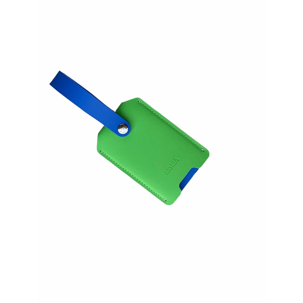 Recycled Leather Luggage Tag - Green/Blue