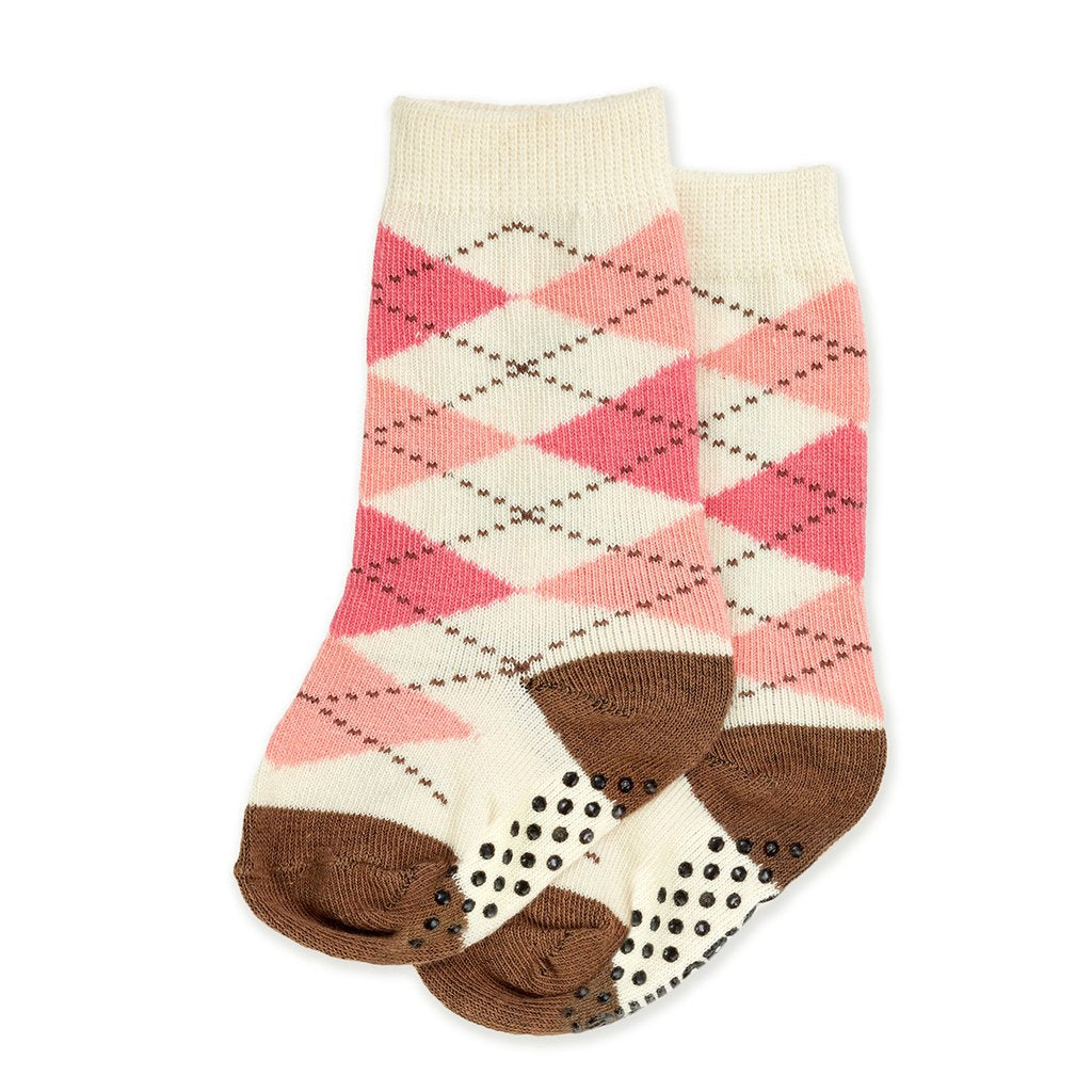 Knee-High Baby Socks - Argyle Pink