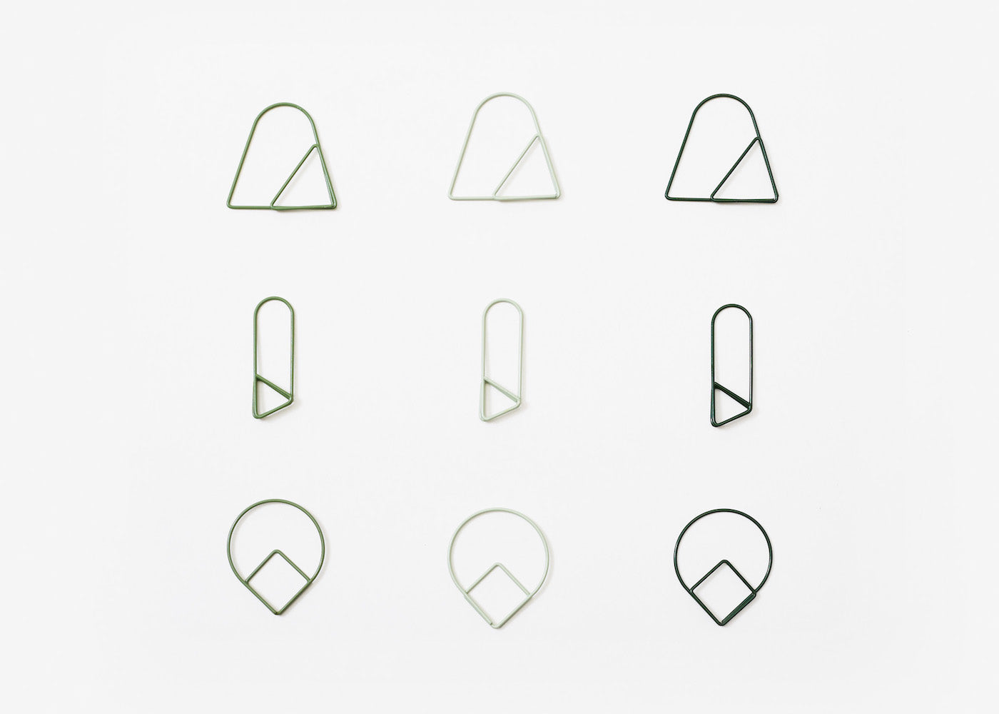 Paper Clips - Green - Set of 9