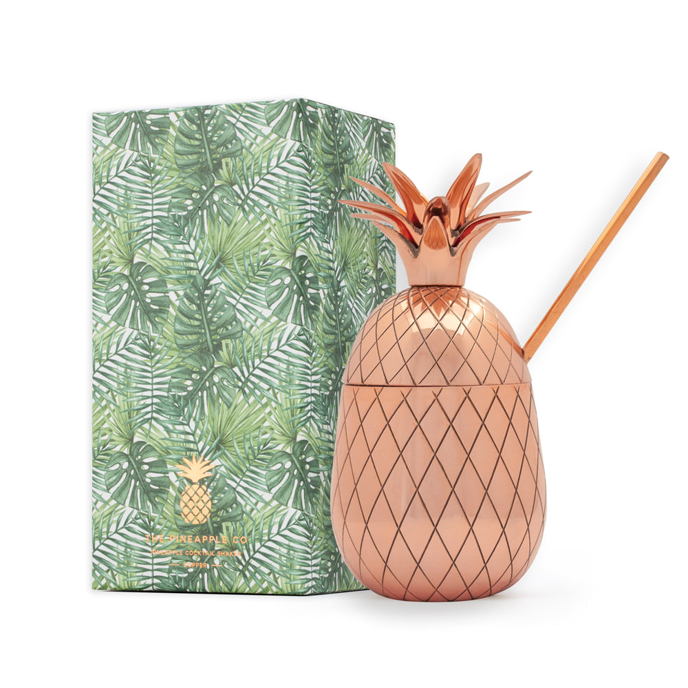 Pineapple Tumbler - Large 16 oz with Straw - Copper