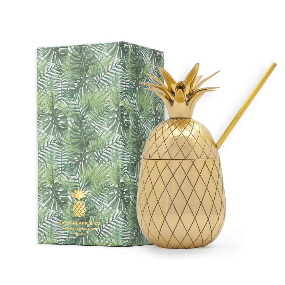 Pineapple Tumbler - Large 16 oz with Straw - Gold