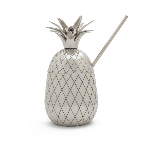 Pineapple Tumbler - Large 16 oz with Straw - Silver
