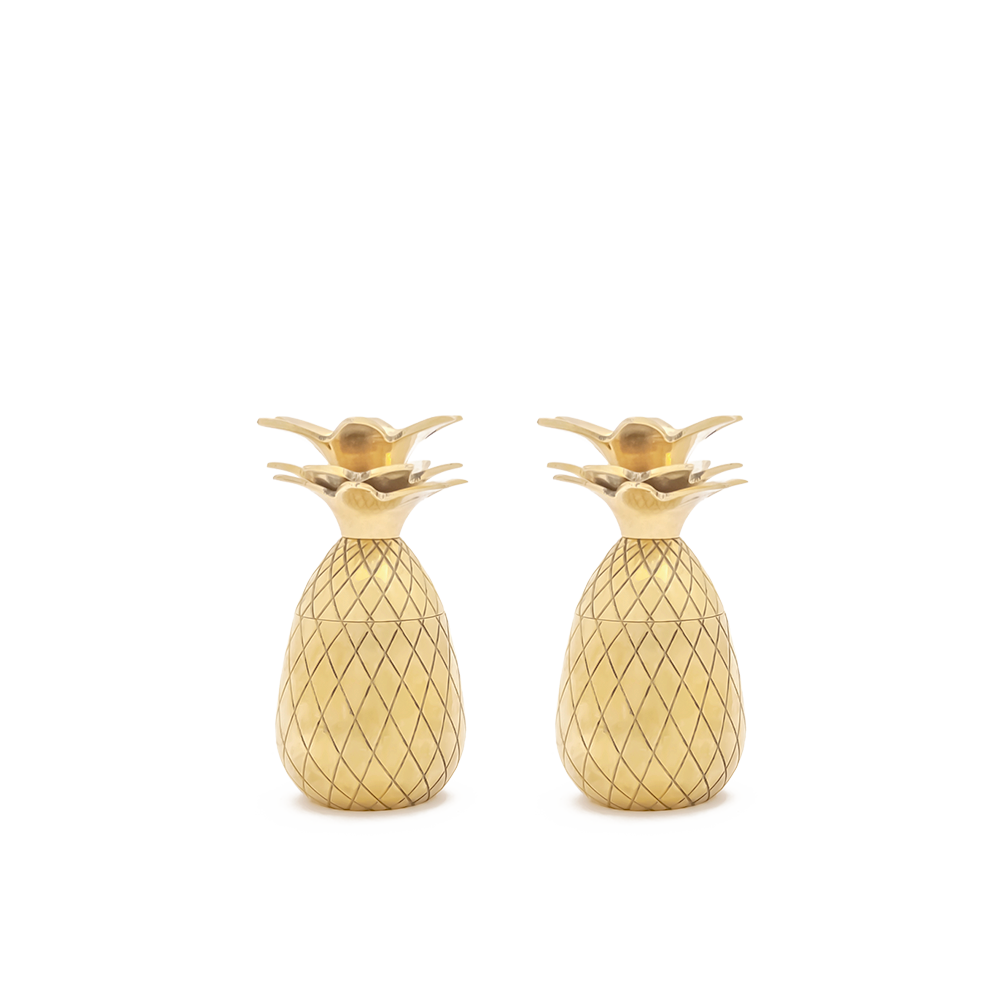 Pineapple Shot Glasses - Set of 2 - Gold