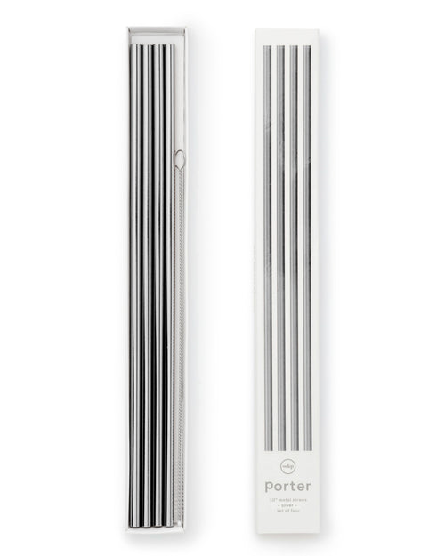 Porter Metal Straws - 25.4 cm - Set of 4 - Silver